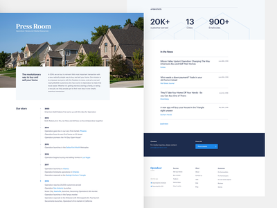 Press page press timeline home brand landing opendoor design simple web layout