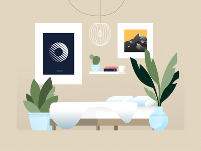 Ideal room relax consistent vase plants zen scene flat illustration