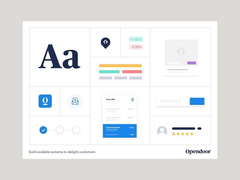 Design system opendoor icon logo landing product illustration estate layout design ui