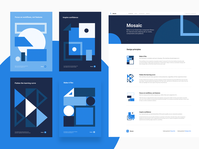Design principles blue layout product geometry illustration system mosaic opendoor ui design