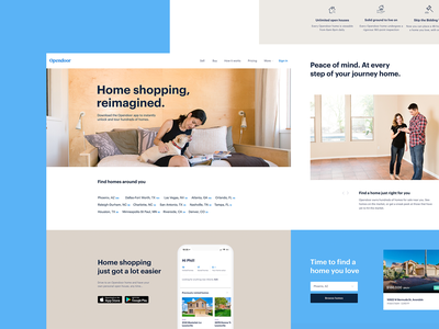New tints estate home blue simple design layout web opendoor exploration brand