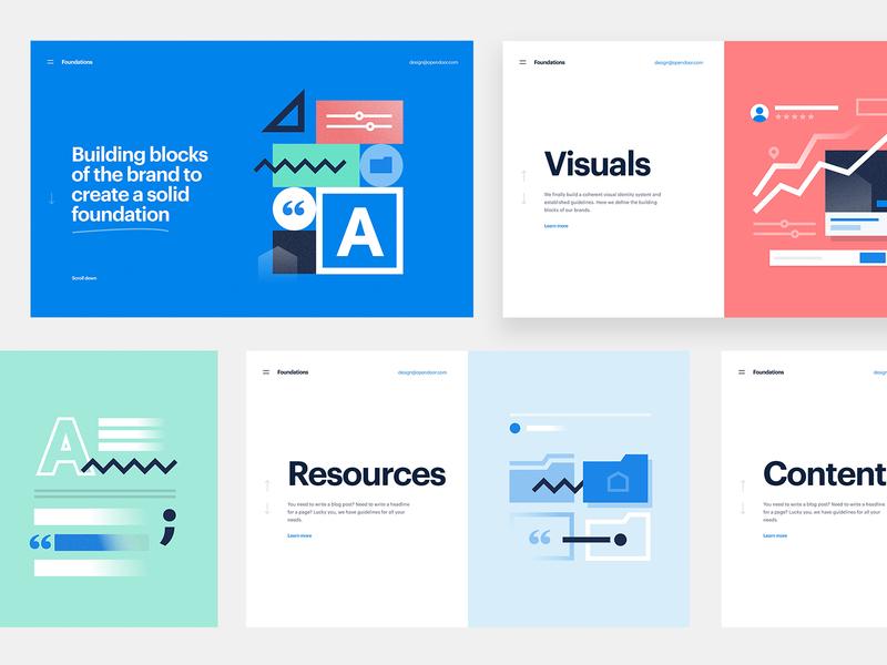 Brand platform illustrations foundations system folder geometric illustration design layout brand