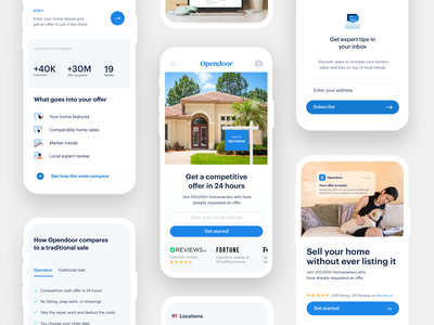 Mobile-first homepage website real estate house home cta layout landing brand opendoor web frontend design hero header responsive mobile