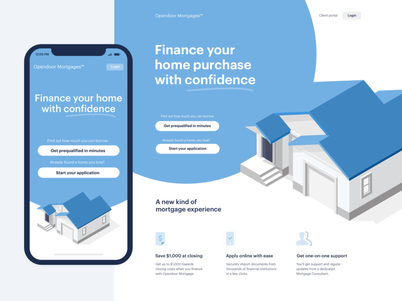 Responsive hero concept circle dual cta finance house isometric banner hero rates loan real estate home mortgage