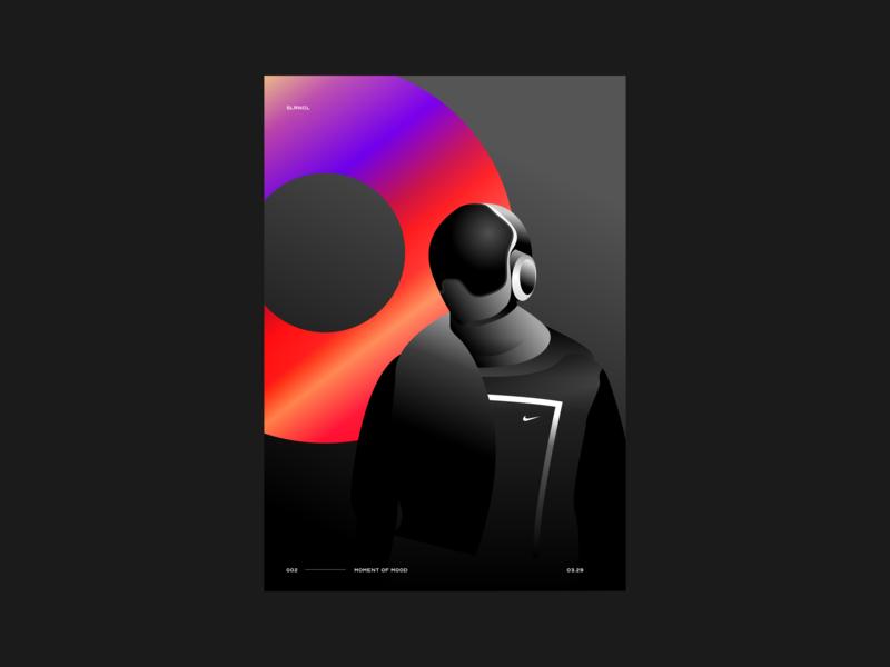 Nike 2050 illustration poster minimal gradient spac visual mood