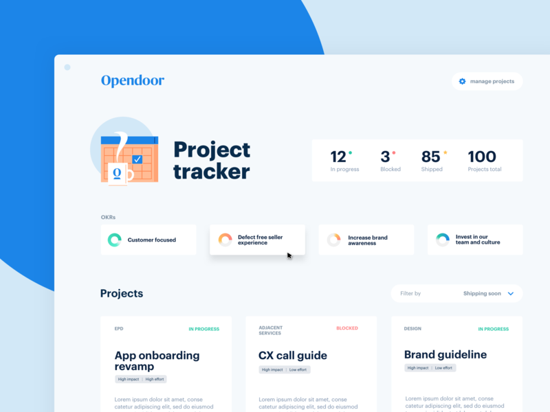 Project tracker dashboard tool ui home house real estate simple product illustration web opendoor design layout