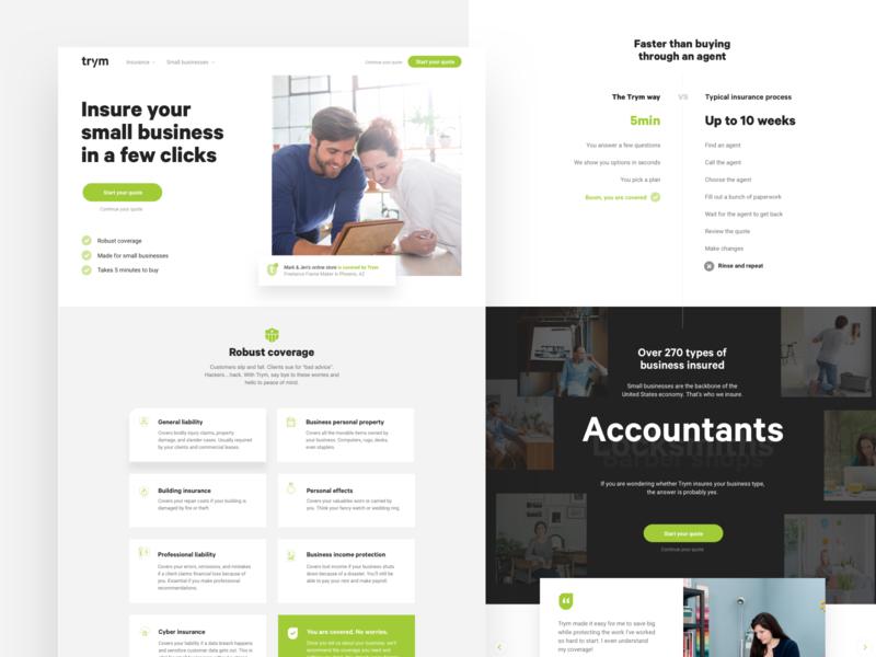 Trym homepage landing page insurance branding product brand web ui design layout