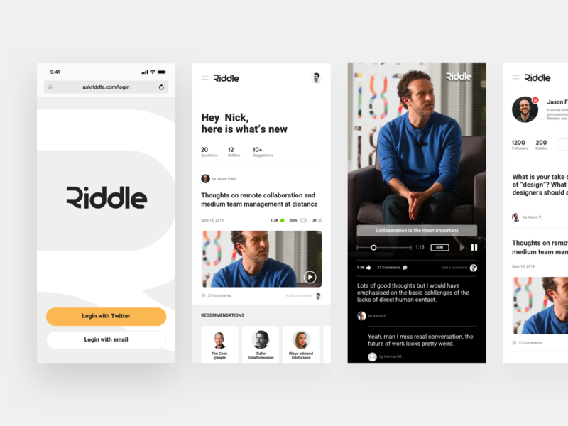 Riddle UI web simple question answer curation video content content feed layout product app