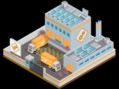 Industry factory solar panel solar energy 3d isometric