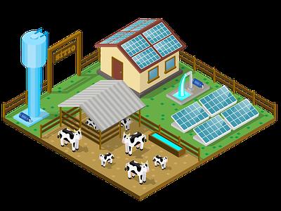 Farm solar energy solar panel isometric 3d farm