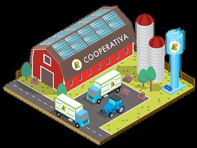 Farm co-op isometric 3d solar energy barn co-op