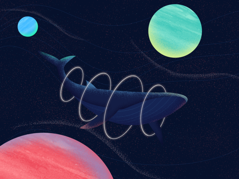Mystery whale planets mystery space whale gradient art texture color illustration design