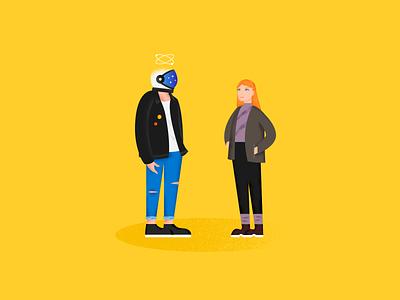 A Weird Date !! character love man girl helmet space weird date gradient texture art color illustration design
