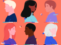 One Race race human peoples one race humans characters character gradient vector texture art color illustration design