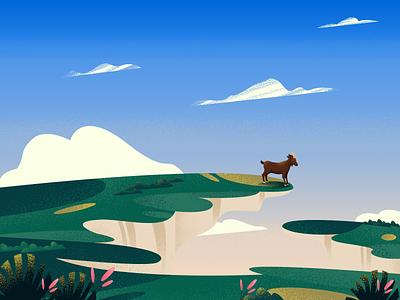 The Cliff View !! concept sky cloud nature environment landscape gradient art color design vector goat view texture illustration cliff