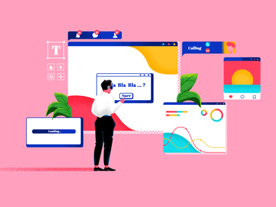 The Virtual Office !! wave space internet instagram desktop creative virtual reality vector character office office design vr plant texture color design artwork art illustration