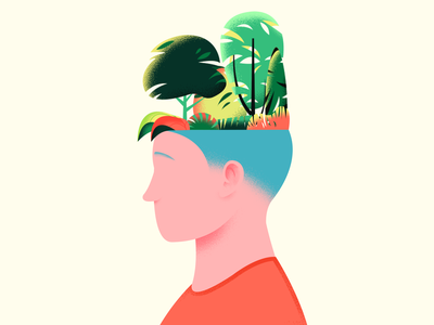 Environment Mindset dribbble tree ecosystem idea brain character mindset environment trees nature plant vector texture art color design illustration