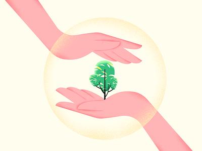 Environment Mindset 3 care environment design environmental enviroment hands nature plant vector gradient texture art color illustration design
