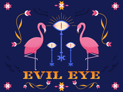 Flamingo: Evil Eye Poster keys key animals pattern poster lettering typography evil eye evil eye flamingos flamingo flower plant vector texture art color illustration design