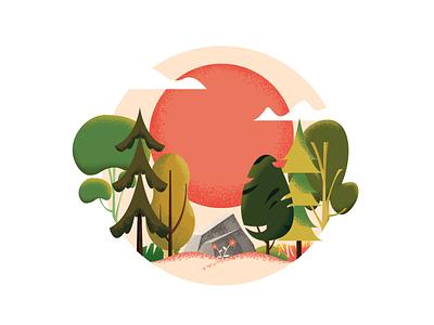 TIMBER !! woods sunset forest timber trees landscape nature plant vector gradient art texture color illustration design