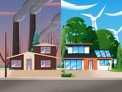 The Environmental Behavior behavior clean energy trees windmill pollution environment home building house nature plant vector gradient texture art color illustration design