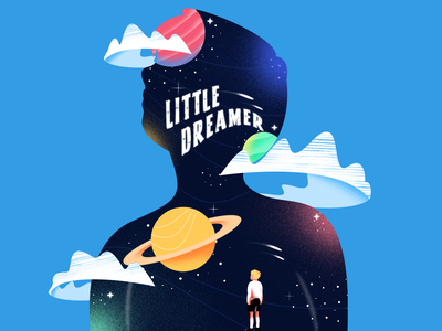 Little Dreamer character book cover galaxy dreamer dream shooting star planet space child kid dribbble vector gradient texture color art design illustration