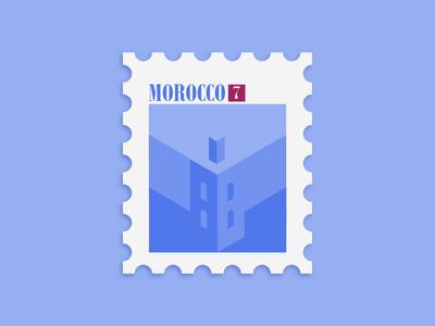 Moroccan Stamp flat timbre morocco stamp design color illustration