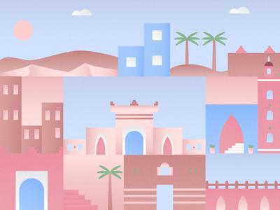 Moroccan Theme flat gradient texture culture theme morocco color design illustration