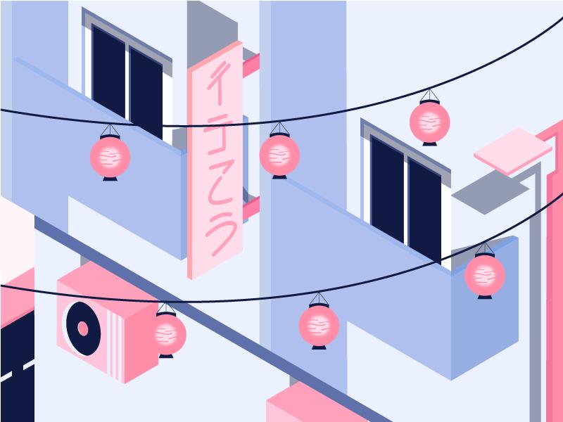 We Love Nipon isometric cultural japan art building window home house color design illustration