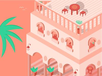 Beautiful Riad morocco riad isometric art building window home house color design illustration
