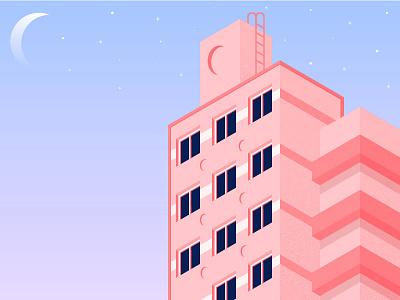 Hi, Building !! sky isometric building color art design home illustration