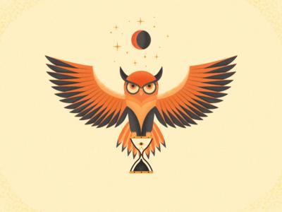 Time Sage star moon hourglass color texture time sage owl art design illustration