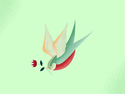 Flying Bird flower fly bird color texture art design illustration