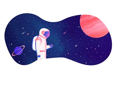 Outer Space star planet astronaut space gradient texture art color design illustration