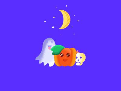 Halloween party !! moon skull ghost pumpkin color texture art design illustration