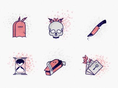 Death Set death icon texture art color design illustration