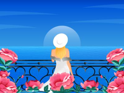 Chilling flower sea hat girl gradient design texture art illustration