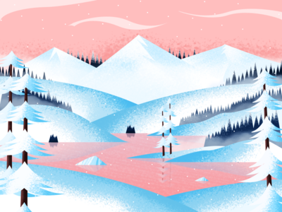 SnowLand mountain river snow landscape gradient color design texture art illustration