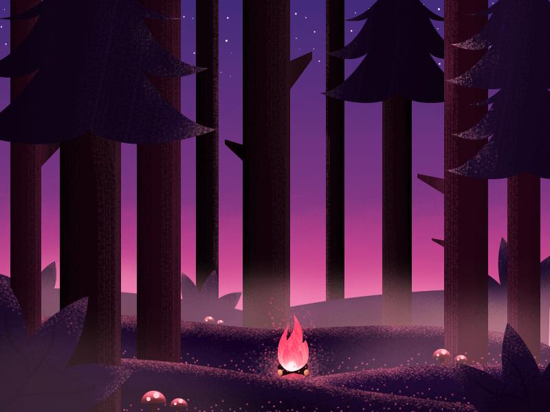 WoodTrees night tree wood fire gradient color texture design illustration art