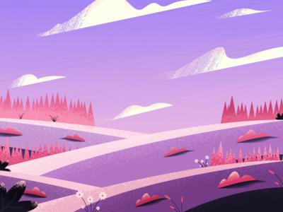 Violetland cloud plant violet landscape fiel texture color design illustration art