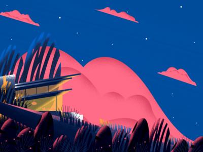 FantasyHome cloud nature house home gradient texture color design illustration art