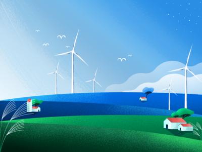 WindMills Field sky field windmill plant gradient texture art color design illustration