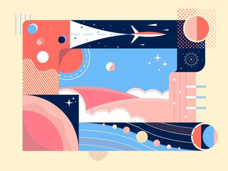 Geometric Space geometric halftone stars planet space texture art color design illustration