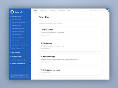 DocuHub - A Documentation Theme typography template theme clean minimal web ui documentation ghost docs