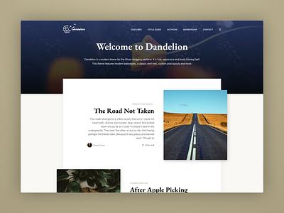 Dandelion - A Modern Ghost Theme for Writing appletv animation blog dark typography minimal template theme ghost clean web ui