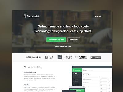 HarvestLink web homepage landing page blur devices responsive