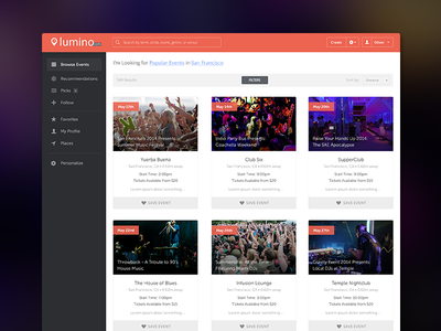 Events Dashboard clean icons simple website web app flat dashboard