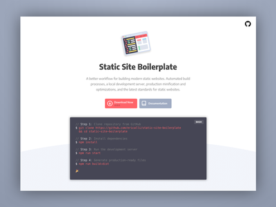 Static Site Boilerplate red open source code landing page logo typography homepage minimal clean web ui