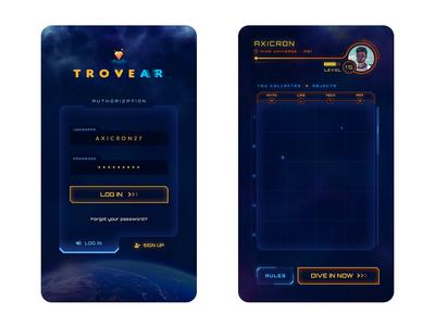 TroveAR - AR Game App UI