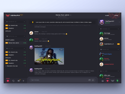 Xeraph chat for gamers web UI/UX